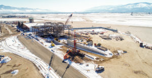 Aerial view of water well drilling project at Missoula airport